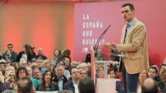 Pedro Sánchez en el acto de campaña. Foto: Europa Press