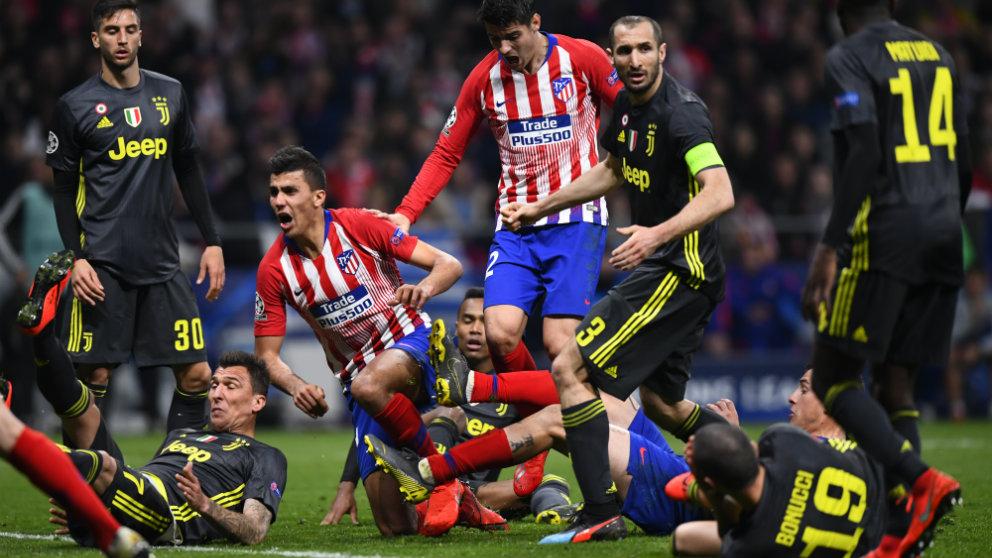 El Atlético de Madrid frente a la Juventus en el Wanda (AFP)