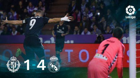 Benzema celebra el 1-3 del Real Madrid en Valladolid.