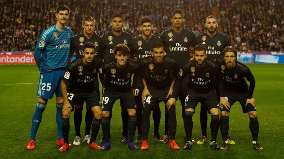 La alineación del Real Madrid en el partido contra el Valladolid.
