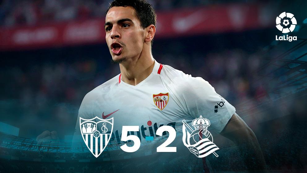 El Sevilla goleó a la Real Sociedad.