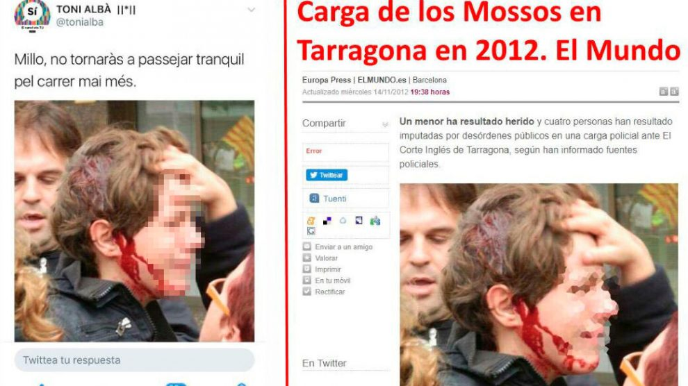 El actor de TV3 Toni Albà difundió la foto de un niño herido por los Mossos en 2012, como si correspondiera a las cargas policiales del 1-O.