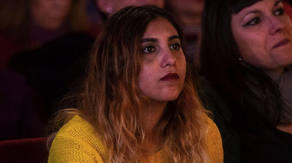 Dina Bousselham, en Móstoles. (Foto. Podemos)