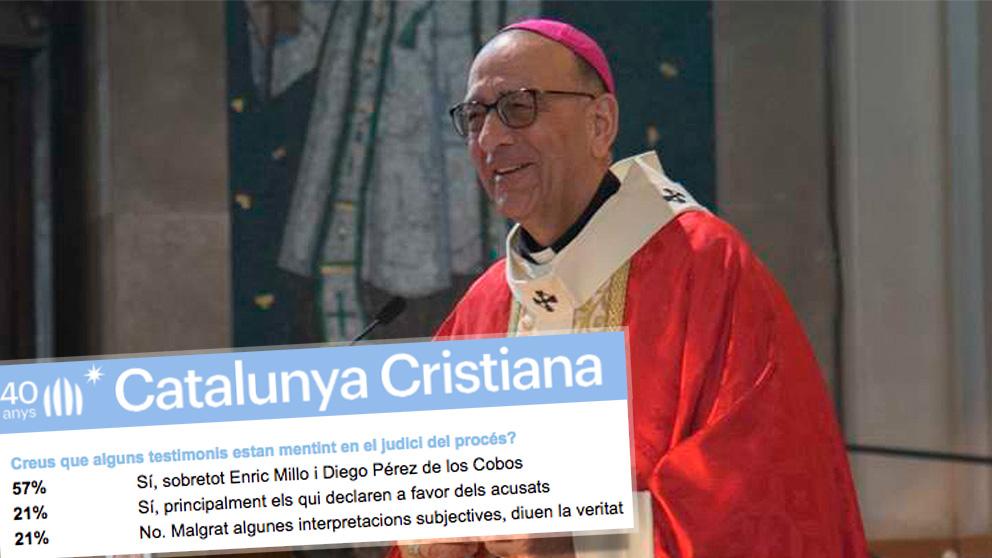 El arzobispo de Barcelona, Juan José Omella, junto a la encuesta de 'Catalunya Cristiana'