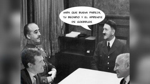 Foto difundida por el canal 'Guerrilla' de Podemos para comparar a Inda con Goebbels y a Casado con Franco