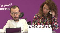Los coportavoces de la Ejecutiva de Podemos, Pablo Echenique y Noelia Vera en rueda de prensa. Foto: Europa Press