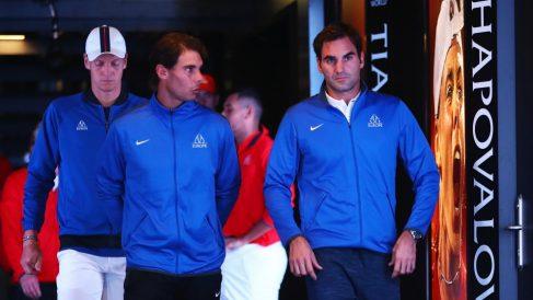 Nadal y Federer, en la Laver Cup. (Getty)