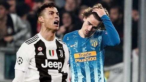 Cristiano Ronaldo y Griezmann en el partido de ayer.