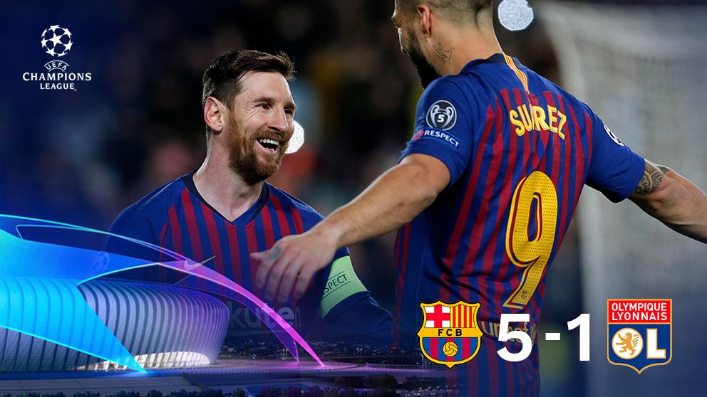 Leo Messi y Luis Suárez celebran uno de los tantos ejecutados por el argentino.