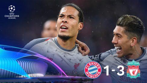 El Liverpool gana al Bayern y está en cuartos.