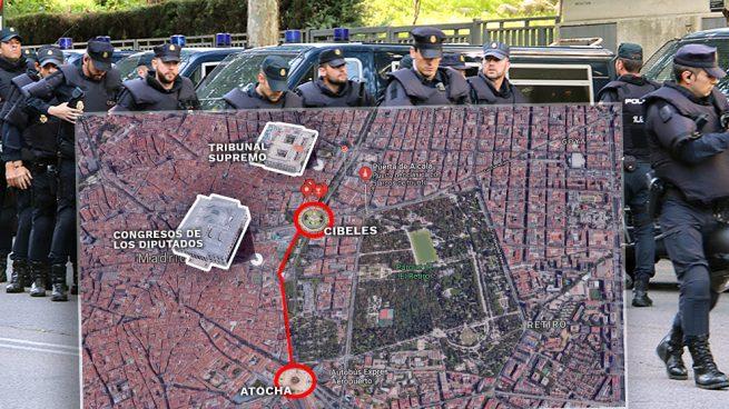 Interior moviliza a 250 antidisturbios para la manifestación independentista en Madrid