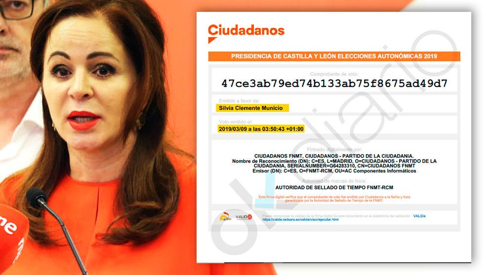 Uno de los votos fraudulentos a favor de la ex consejera del PP Silvia Clemente en las polémicas primarias de Ciudadanos. Foto: (EP/OKDIARIO)