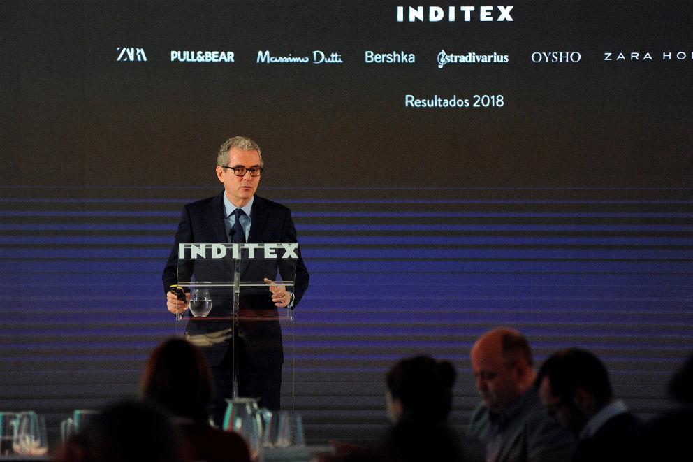 Pablo Isla, presidente de Inditex, presenta resultados ante la prensa este miércoles en Arteixo