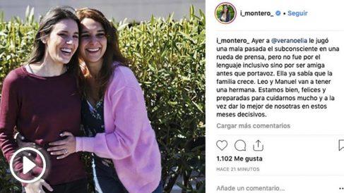 Irene Montero comunica que volverá a ser madre en Instagram