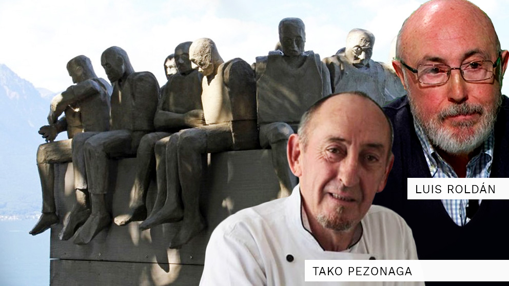 El monumento 'Refugiados' del artista brasileño Bel Borda que presentó en Suiza.