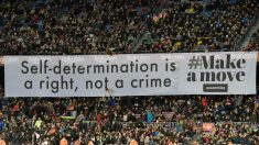 Pancarta independentista en el Camp Nou.