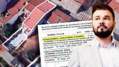 """La escritura de la nueva casa de Juan Gabriel Rufián (ERC) dice que también es """"conocido como Gabriel"""". (Fuente: OKDIARIO)"""
