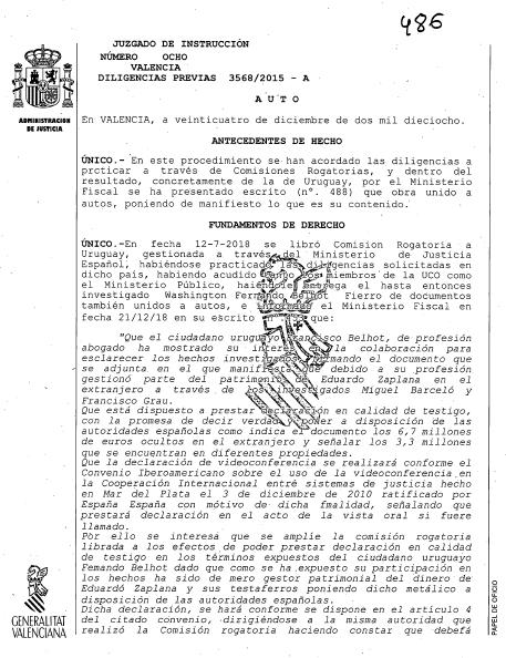El intermediario de Zaplana pactó con el fiscal su absolución a cambio de testificar contra él