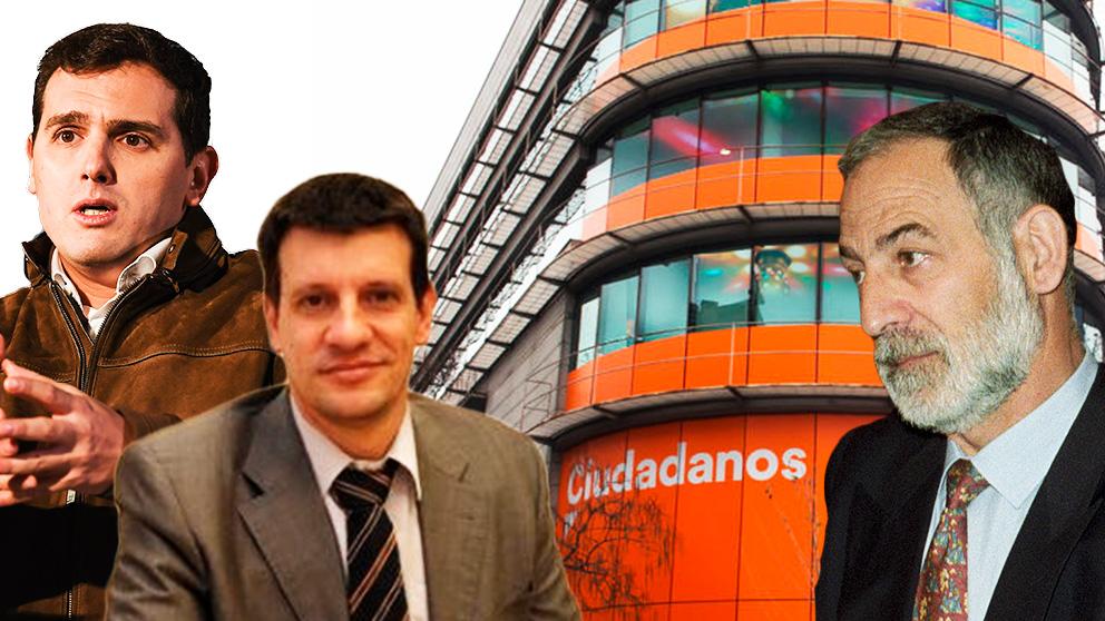 Albert Rivera, el jefe de seguridad de Ciudadanos Francisco Lacasa y el ex comisario Francisco Álvarez, condenado por su implicación en los GAL.