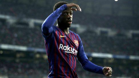 Dembélé, en un partido con el Barcelona. (Getty)
