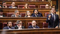 El líder de Ciudadanos, Albert Rivera, y su bancada en un Pleno de esta legislatura. (Foto: Ciudadanos)