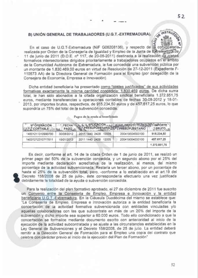 El PSOE de Vara autorizó el desvío multimillonario de fondos de formación de UGT