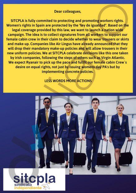 Ryanair impide a sus trabajadores firmar una petición para que las azafatas lleven pantalones