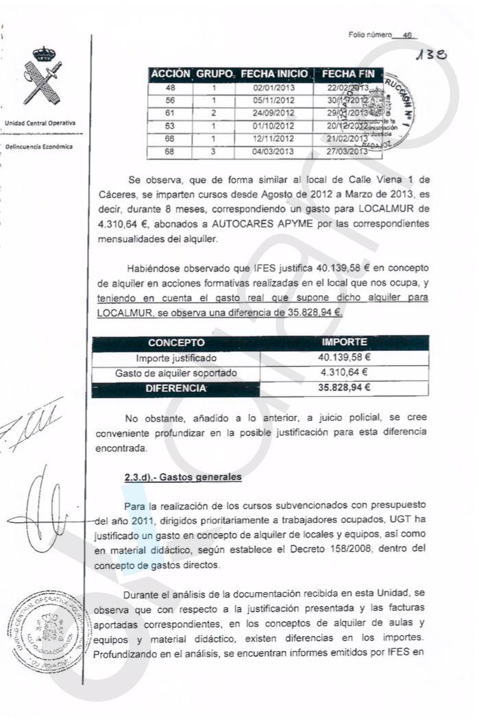 La UCO prueba que UGT infló multiplicando por 10 las facturas de los locales de los fondos de formación