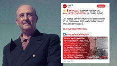 Imagen de archivo del dictador Franco y el tuit que ha usado el PSOE para hacer un mitin electoral