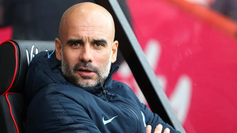 Pep Guardiola, en un partido del Manchester City. (Getty)