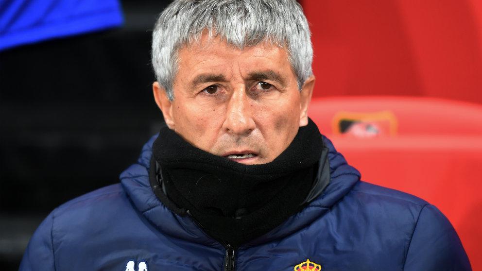 Quique Setién, durante un partido.(AFP)