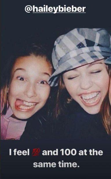 Miley Cyrus publica una inesperada imagen con Hailey Baldwin cuando eran niñas
