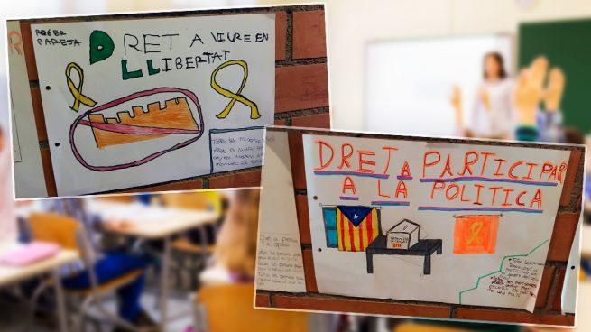 Una escuela de Barcelona expone dibujos de alumnos de primaria sobre el independentismo
