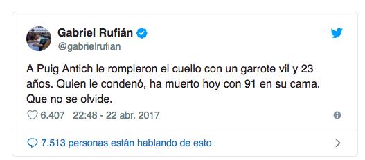 Gabriel Rufián y Teresa Rodríguez a juicio el 22 de abril por sus tuits contra un ministro de Franco