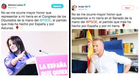 Los mensajes plagiados en Twitter de Adriana Lastra y de Ander Gil, portavoces del PSOE en el Congreso y Senado