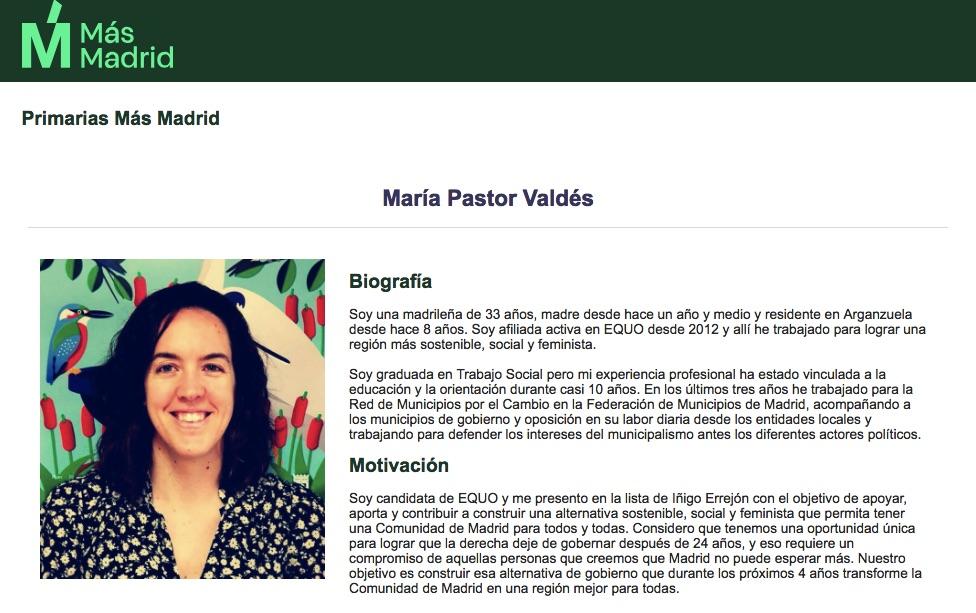 María Pastor Valdés en su perfil en la web de Más Madrid.