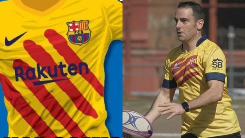 Camiseta del Barcelona para jugar en el Santiago Bernabéu y un jugador del U. E. Santboiana.