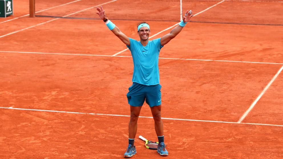 Rafael Nadal celebra su victoria en Roland Garros. (Getty)