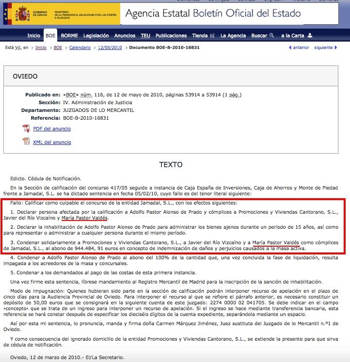 Sentencia recogida en el BOE sobre María Pastor. (Clic para ampliar)