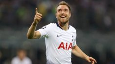 Christian Eriksen celebra un gol con el Tottenham Hotspur. (Getty)