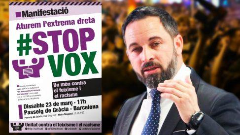 El cartel de la manifestación contra VOX y el líder de la formación verde, Santiago Abascal