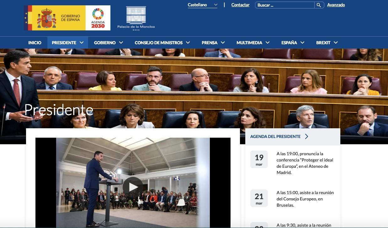 Página web de La Moncloa.
