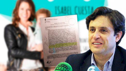 El alcalde de Galapagar, Daniel Pérez, junto al decreto que firmó para hacer indefinida la plaza de su mujer.