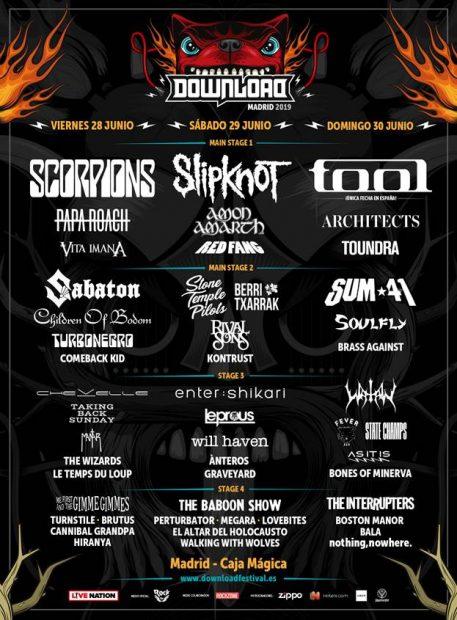 Cartel completo de Download Festival Madrid 2019, que se celebra en la Caja Mágica.