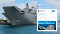 El tuit de La Armada española junto a una foto del portaviones 'Juan Carlos I'.