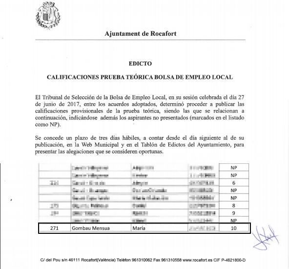 La asesina confesa de Godella obtuvo la máxima nota en el examen para ser empleada municipal