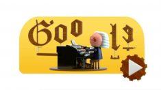 Imagen del Doodle dedicado a Bach por su 334 nacimiento