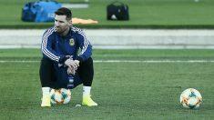 Messi durante el entrenamiento de la selección argentina (AFP).