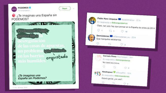 El unánime 'zasca' de las redes a la campaña '¿Te imaginas una España sin Podemos?': «¡¡Ojalá!!»