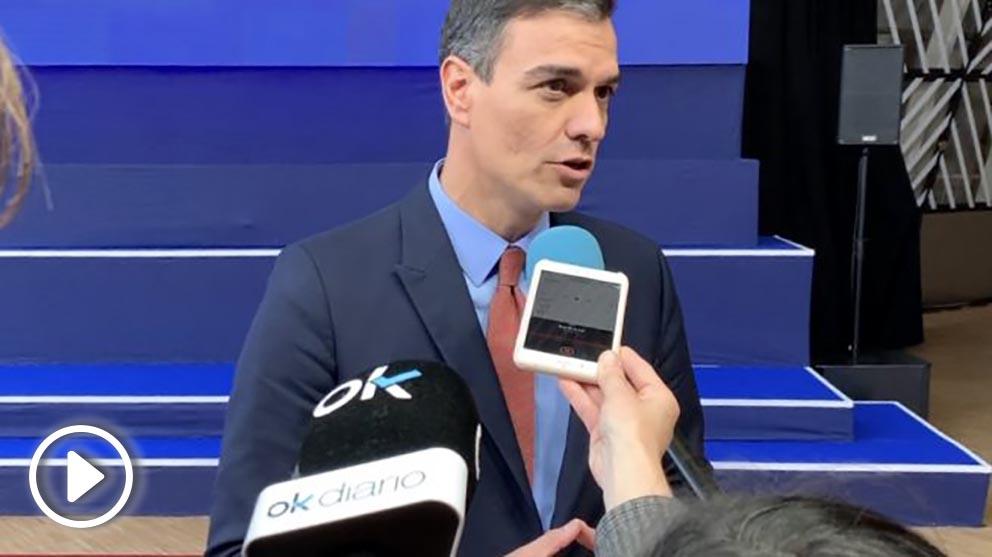 Sánchez a su llegada al último Consejo Europeo. Foto: Joan Guirado
